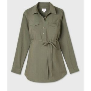 Isabel maternity olive green long sleeve blouse